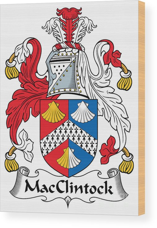 Macclintock Wood Print featuring the digital art Macclintock Coat Of Arms Irish by Heraldry