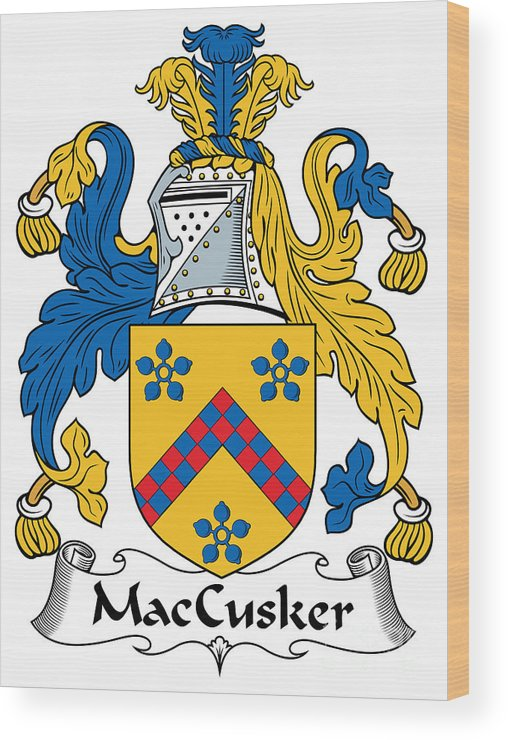 Maccusker Wood Print featuring the digital art Maccusker Coat Of Arms Irish by Heraldry