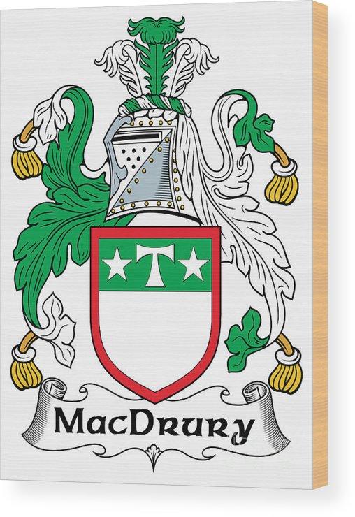 Macdrury Wood Print featuring the digital art Macdrury Coat Of Arms Irish by Heraldry