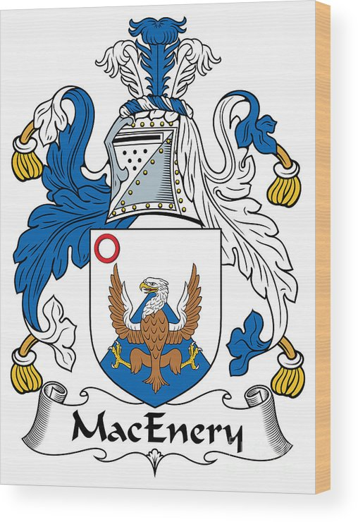 Macenery Wood Print featuring the digital art Macenery Coat Of Arms Irish by Heraldry