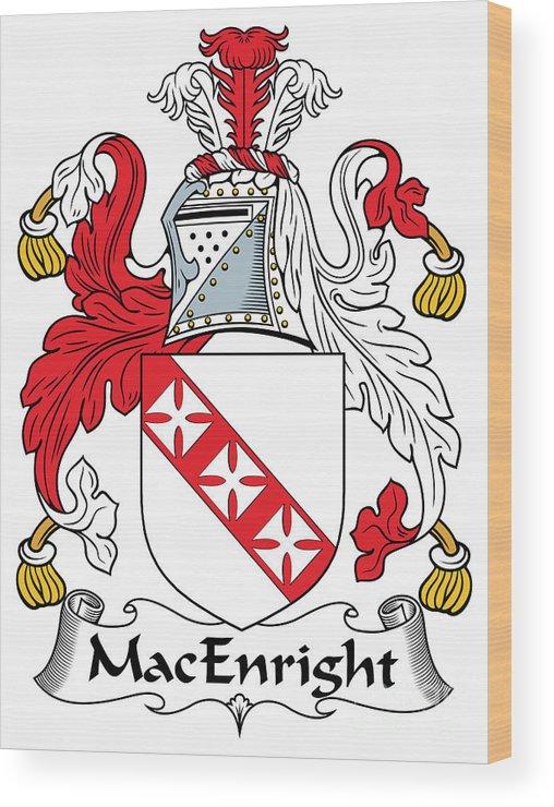 Macenright Wood Print featuring the digital art Macenright Coat Of Arms Irish by Heraldry
