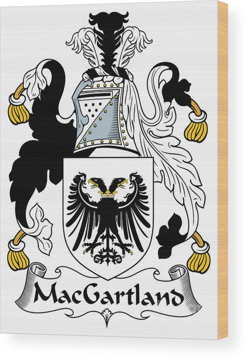 Macgartland Wood Print featuring the digital art Macgartland Coat Of Arms Irish by Heraldry