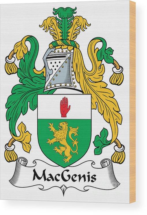 Macgenis Wood Print featuring the digital art Macgenis Coat Of Arms Irish by Heraldry