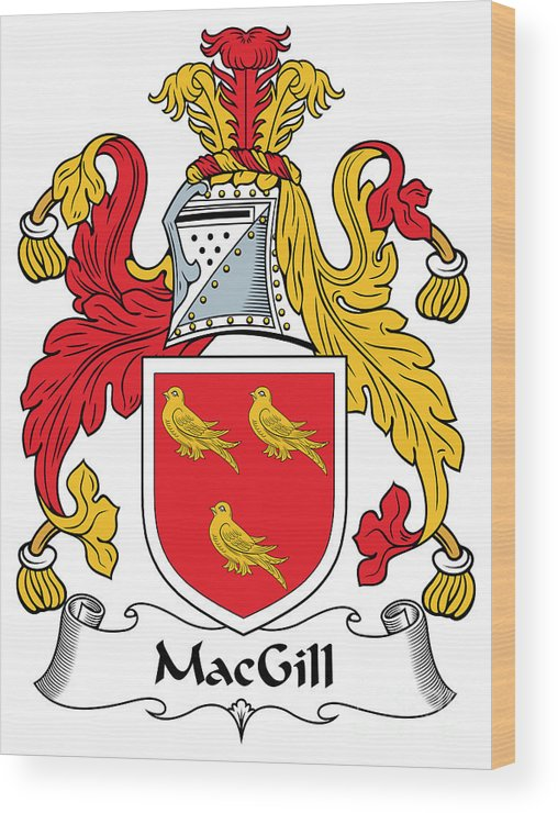 Macgill Wood Print featuring the digital art Macgill Coat Of Arms Ballynester Ireland by Heraldry