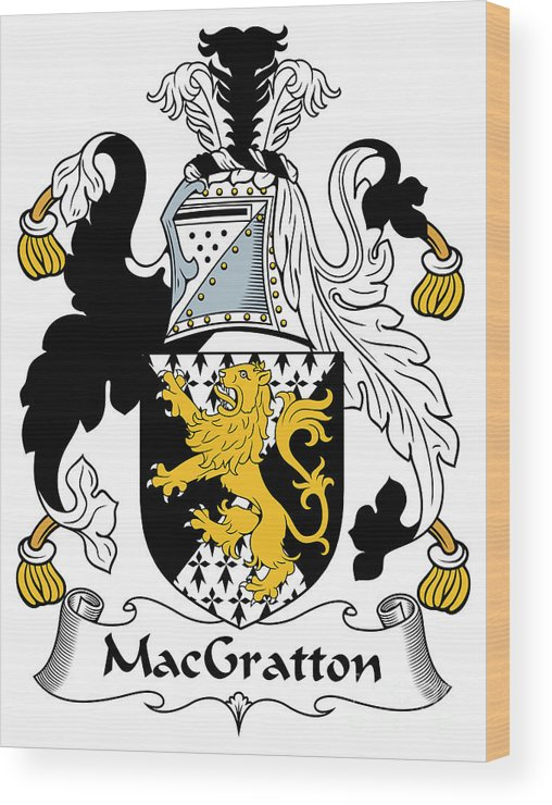 Macgratton Wood Print featuring the digital art Macgratton Coat Of Arms Irish by Heraldry