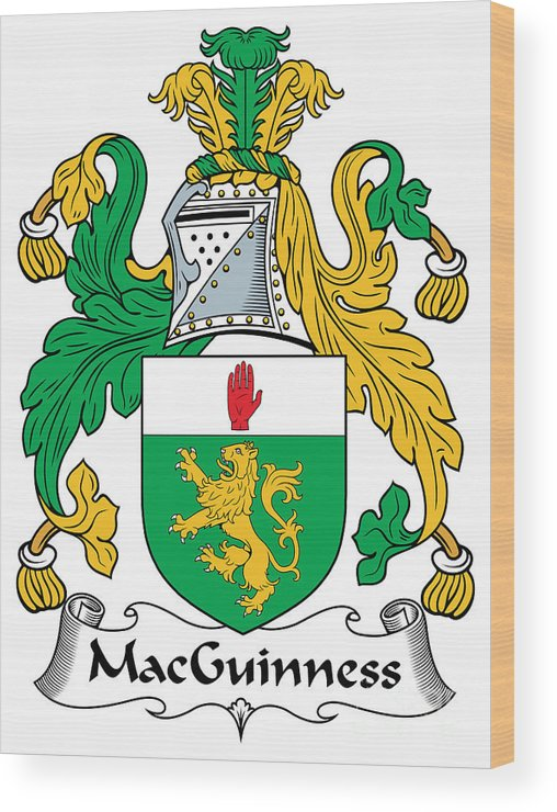 Macguinness Wood Print featuring the digital art Macguinness Coat Of Arms Irish by Heraldry