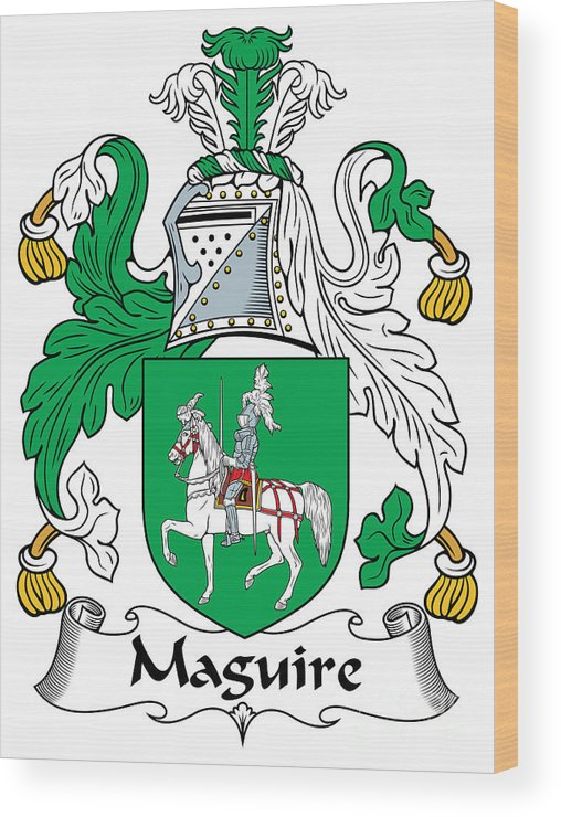 Macguire Wood Print featuring the digital art Macguire Coat Of Arms Irish by Heraldry