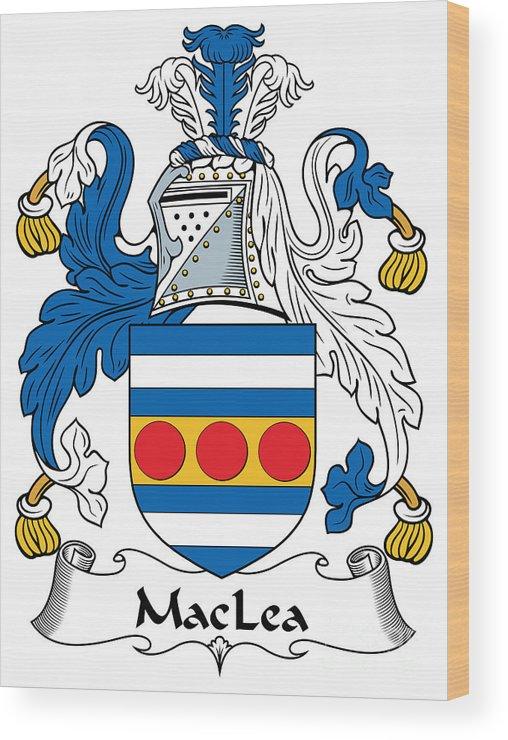 Maclea Wood Print featuring the digital art Maclea Coat Of Arms Irish by Heraldry