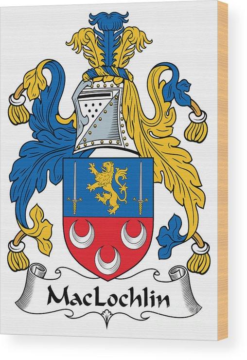Maclochlin Wood Print featuring the digital art Maclochlin Coat Of Arms Irish by Heraldry