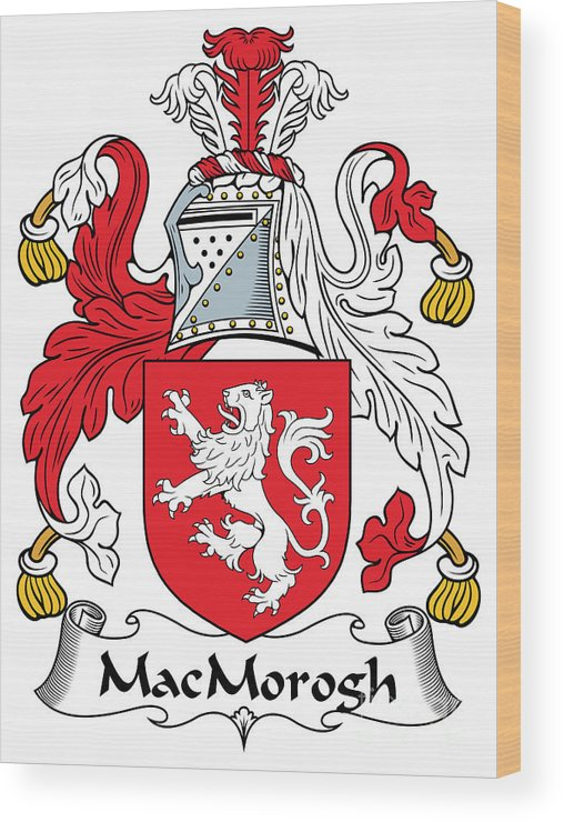 Macmorogh Wood Print featuring the digital art Macmorogh Coat Of Arms Irish by Heraldry