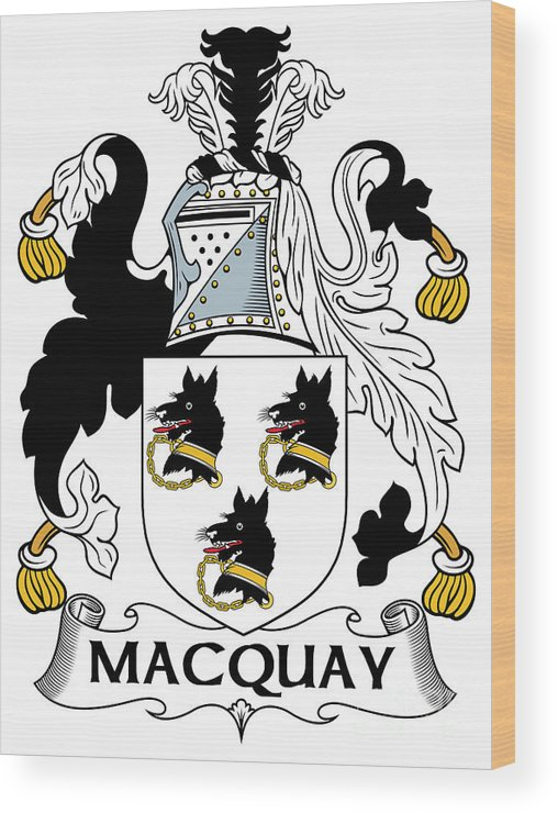 Macquay Wood Print featuring the digital art Macquay Coat Of Arms Irish by Heraldry