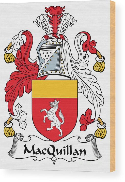 Macquillan Wood Print featuring the digital art Macquillan Coat Of Arms Irish by Heraldry
