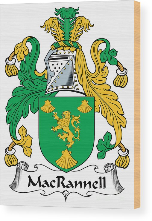 Macrannell Wood Print featuring the digital art Macrannell Coat Of Arms by Heraldry