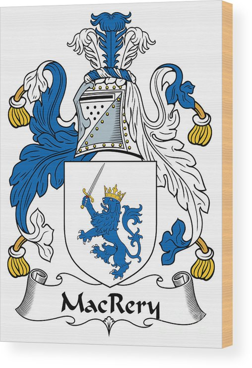 Macrery Wood Print featuring the digital art Macrery Coat Of Arms Irish by Heraldry