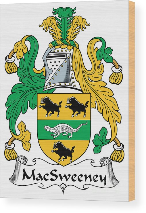 Macsweeney Wood Print featuring the digital art Macsweeney Coat Of Arms Irish by Heraldry