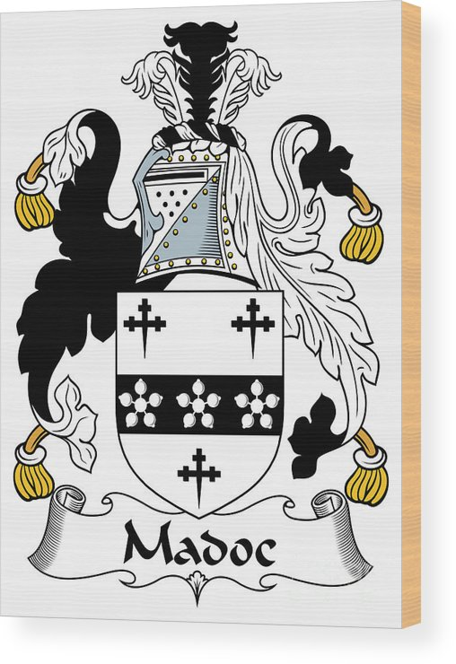 Madoc Wood Print featuring the digital art Madoc Coat Of Arms Irish by Heraldry