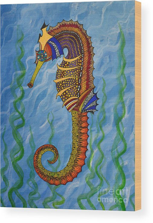Seahorse Wood Print featuring the painting Magical Seahorse by Suzette Kallen