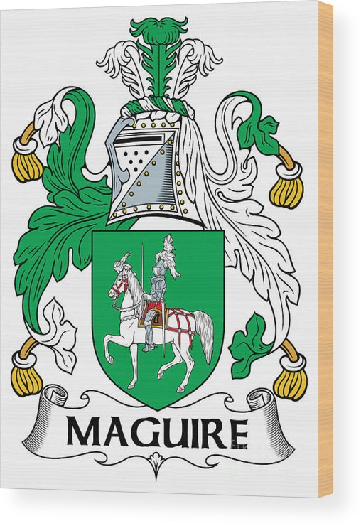 Maguire Wood Print featuring the digital art Maguire Coat Of Arms Irish by Heraldry