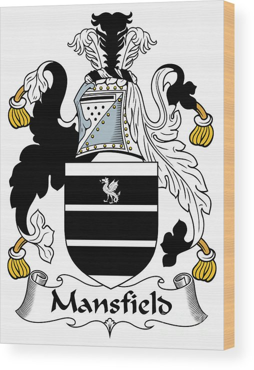 Mansfield Wood Print featuring the digital art Mansfield Coat Of Arms Irish by Heraldry
