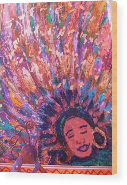 Bright Wood Print featuring the mixed media Mardi Gras Girl Revisited by Anne-Elizabeth Whiteway