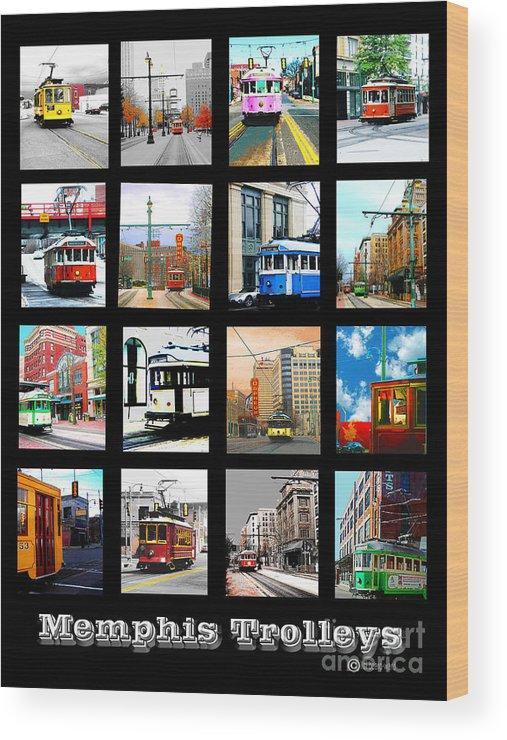 Cards Wood Print featuring the digital art Memphis Trolleys by Lizi Beard-Ward
