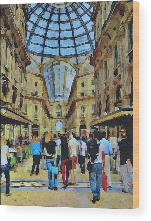 Milan Wood Print featuring the digital art Milano Shopping Center 1 by Yury Malkov