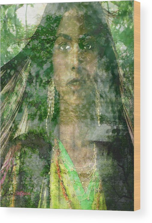 American Indian Wood Print featuring the digital art Mistress Of The Wind by Seth Weaver