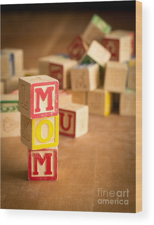 Abcs Wood Print featuring the photograph Mom Alphabet Blocks by Edward Fielding
