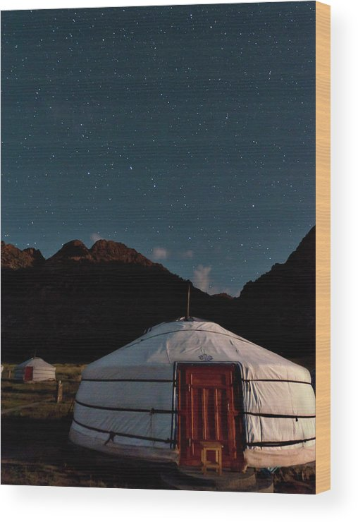 The Big Dipper Shines Over Our Yurt At The Khankhar-uul Camp In Wood Print featuring the photograph Mongolia By Starlight by Alan Toepfer