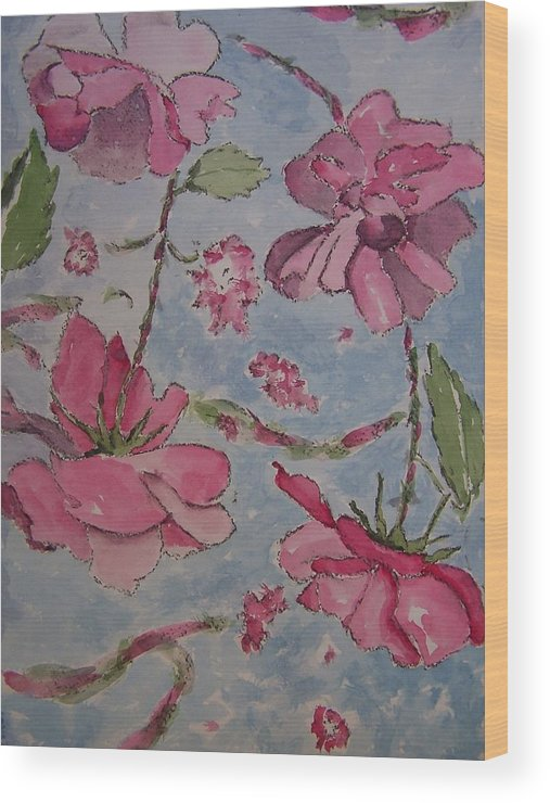 Red Wood Print featuring the painting Monochromatic Roses by James Cox