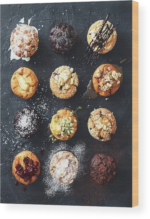 Nut Wood Print featuring the photograph Muffins With Nuts, Fruits And Chocolate by Eugene Mymrin