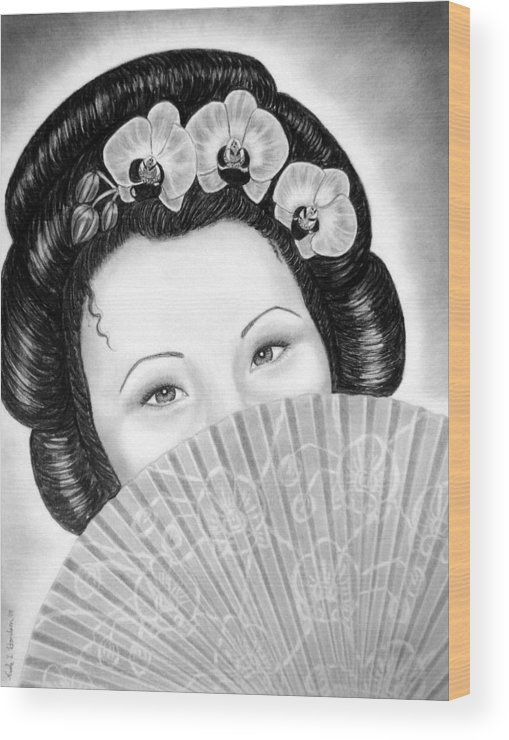 Geisha Wood Print featuring the drawing Mysterious - Geisha Girl With Orchids And Fan by Nicole I Hamilton