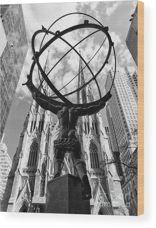 America; Atlas; Sculpture; Architecture; Cathedral; Catholic; Church; City; Cityscape; Exterior; Holy; Landmark; Manhattan; New York; City; Patrick; Saint; Stain; Stained; Patric; Skyscrapers; Tourism; B&w Wood Print featuring the photograph New York - Atlas Statue by Nino Marcutti