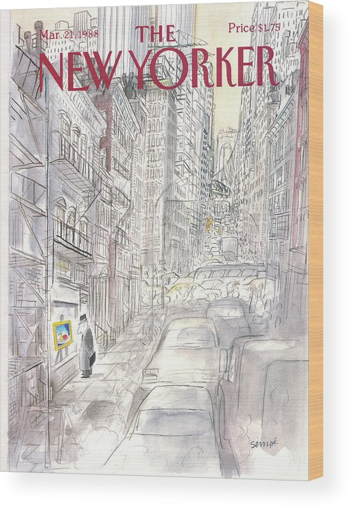 New York City Wood Print featuring the painting New Yorker March 21st, 1988 by Jean-Jacques Sempe