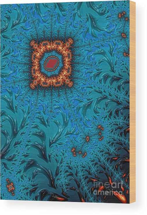 Orange Square Abstract Wood Print featuring the digital art Orange On Blue Abstract by John Edwards