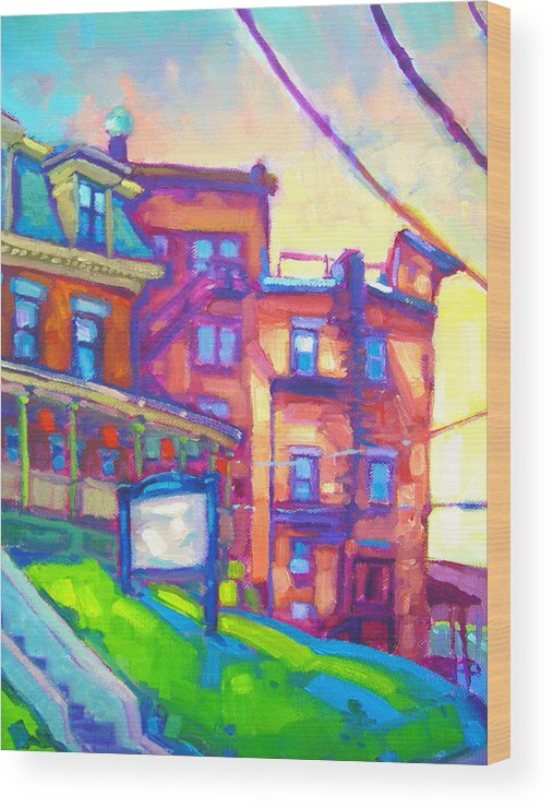 Buildings Wood Print featuring the painting Osaka Northampton by Caleb Colon