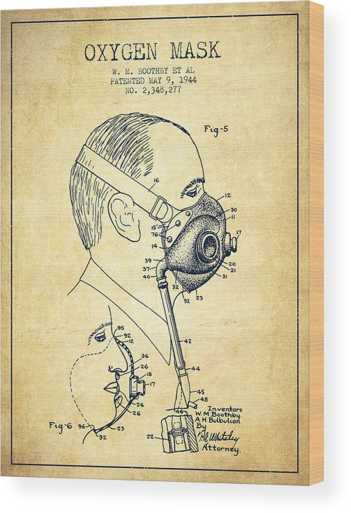 Oxygen Mask Wood Print featuring the digital art Oxygen Mask Patent From 1944 - Three - Vintage by Aged Pixel