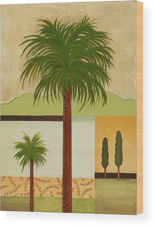 Palm Trees Wood Print featuring the painting Palm Desert by Carol Sabo