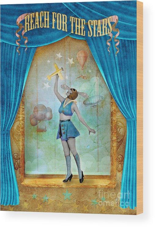 Aimee Stewart Wood Print featuring the digital art Reach For The Stars by Aimee Stewart