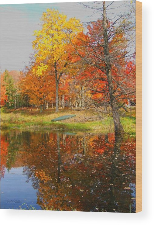 Fall Wood Print featuring the photograph Reflections Of Autumn by Judy Waller
