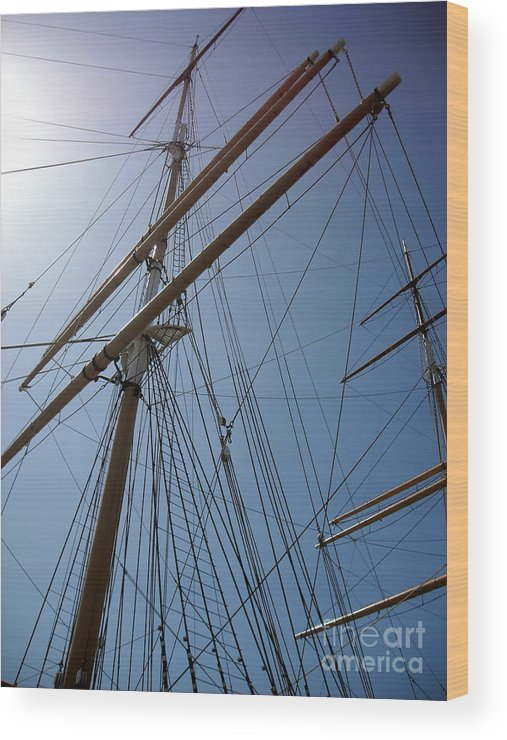 Uss Constitution Wood Print featuring the photograph Rigging Of The Constitution by Lauren Nicholson
