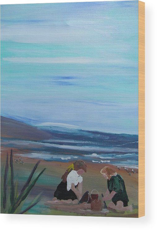 Beach Wood Print featuring the painting Sandcastle by Susan Voidets