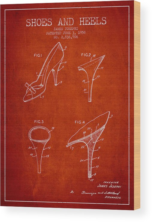 f25ecf910f Shoes And Heels Patent From 1958 - Red Wood Print by Aged Pixel
