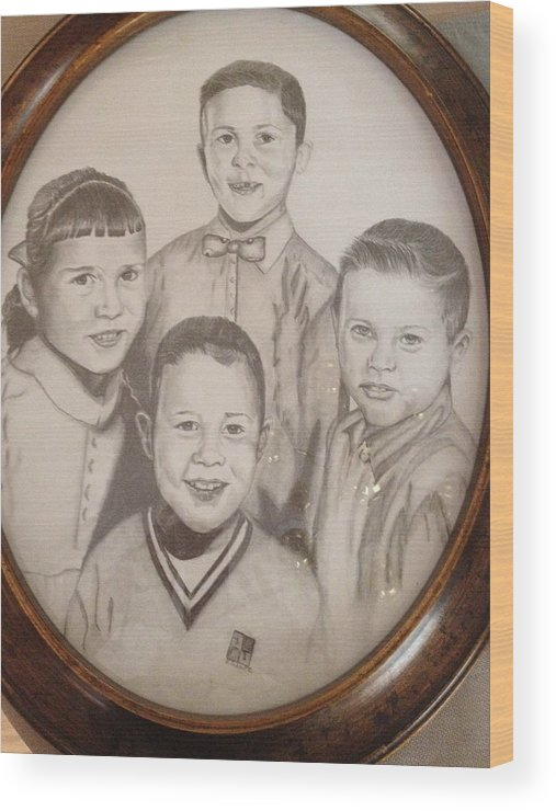 Pencil Portrait Of Brothers And Sister. Wood Print featuring the drawing Siblings by Sharon Schultz