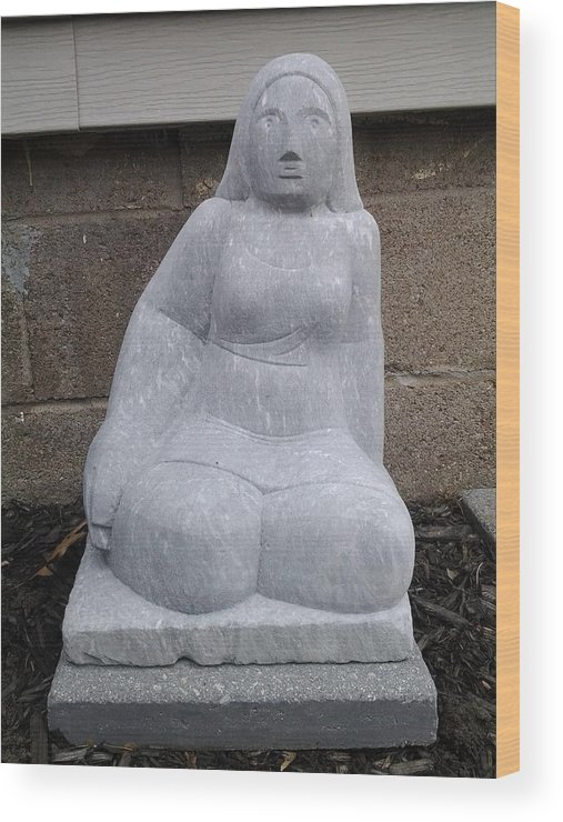 Granite Wood Print featuring the sculpture Sitting Lady by Edwin A Ziarko
