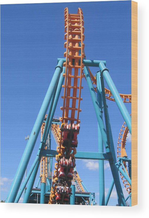 Six Wood Print featuring the photograph Six Flags America - Two-face Roller Coaster - 12124 by DC Photographer