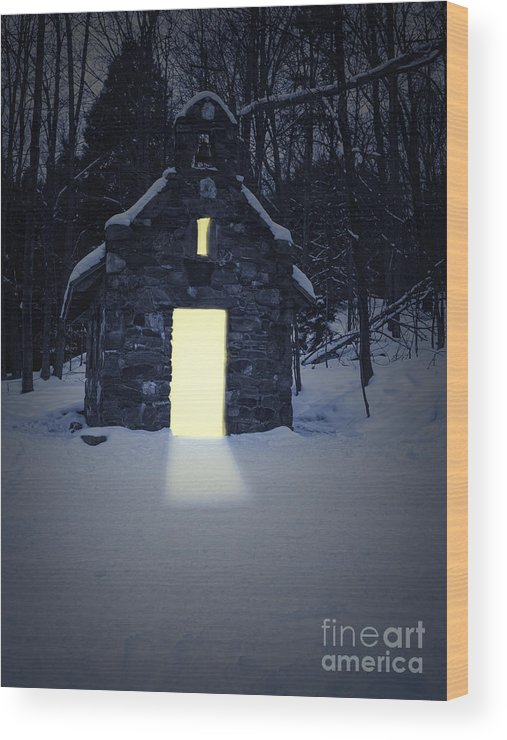 Oasis Wood Print featuring the photograph Snowy Chapel At Night by Edward Fielding
