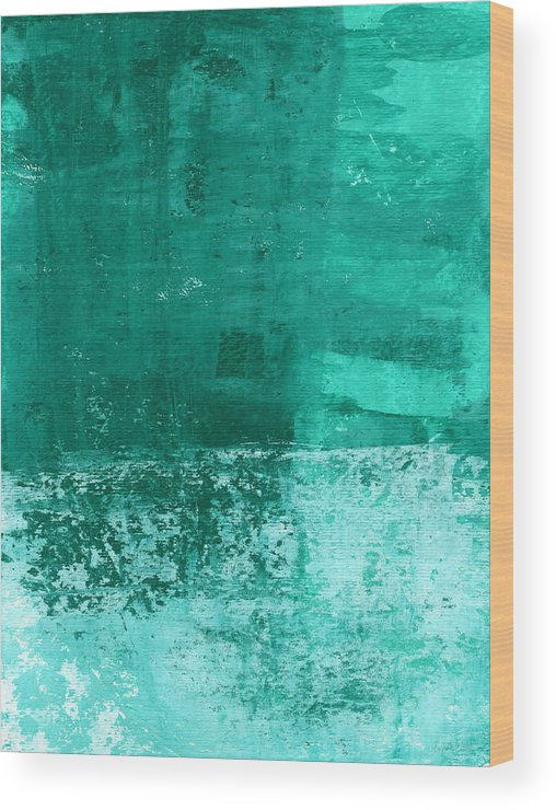 Abstract Art Wood Print featuring the painting Soothing Sea - Abstract Painting by Linda Woods