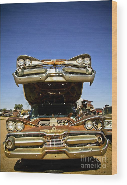 Rusty Wood Print featuring the photograph Stacked 1959 Dodges by Don Kincl