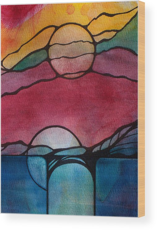 Landscape Wood Print featuring the painting Stained Glass Moonrise by Jodi Forster